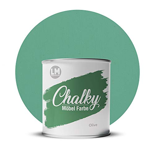 LM-Kreativ Chalky Möbelfarbe deckend 750 ml (Olive), matt finish In- & Outdoor Kreide-Farbe für Shabby-Chic, Vintage und Landhaus Stil