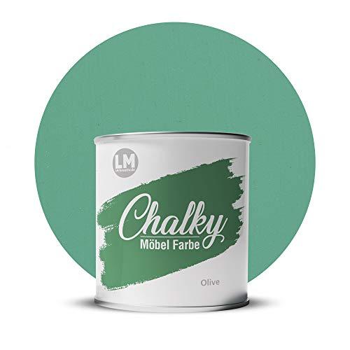 LM-Kreativ Chalky Möbelfarbe deckend 1 Liter / 1,35 kg (Olive), matt finish In- & Outdoor Kreide-Farbe für Shabby-Chic, Vintage und Landhaus Stil