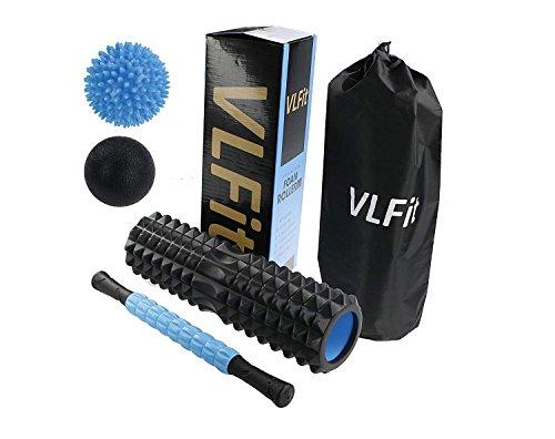 Le première qualité Grand de 45 cm kit de rouleau de mousse avec Muscle Roller Stick, balles de massage + Bonus Sac de transport et boîte de couleur