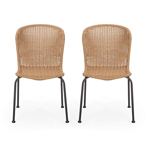 Set of 2 Christopher Knight Home 312471 Delia Outdoor Dining Chair Black