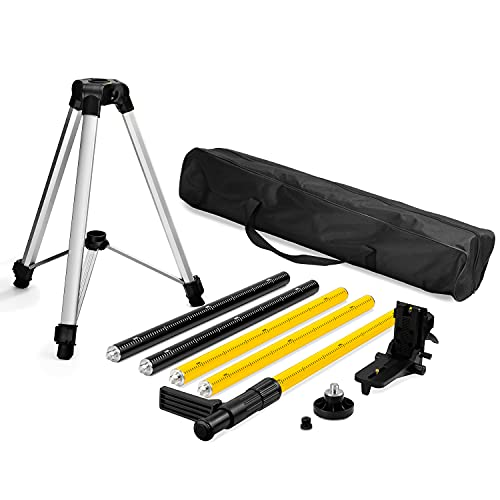 KAIWEETS Telescoping Pole with Tripod and Mount for Laser Levels, Compatible with 1/4 inch Camera, Projector, Photography lights