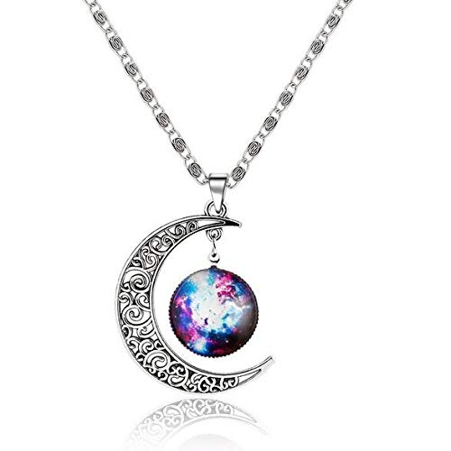 Collar Tipos Hot Fantasy Space Planet Moon Collar Largo para Mujer, Cool Time Gem Collares Pendientes para Mujer Joyería Sin Cuello Aliexpress Nq37