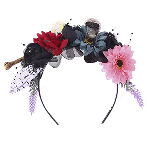 Halloween Multicolored Artificial Floral Headband Scary Skull Skeleon Ghost Hand Hair Hoop Day of The Dead Cosplay Costume Headpiece Accessories halloween witch fingers witch fingers glow in the