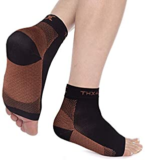 be12aae050 Thx4 Copper Compression Recovery Foot Sleeves for Men & Women, Copper  Infused Plantar Fasciitis Socks