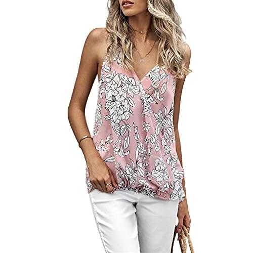 XZJJZ Camisa de Manga Corta de Encaje de Verano Mujeres Casuales Sexy Tops Pure Color Pure Sild Cuello de V-Cuello Camisa de Gasa Superior (Color : Pink, Size : XXLcode)