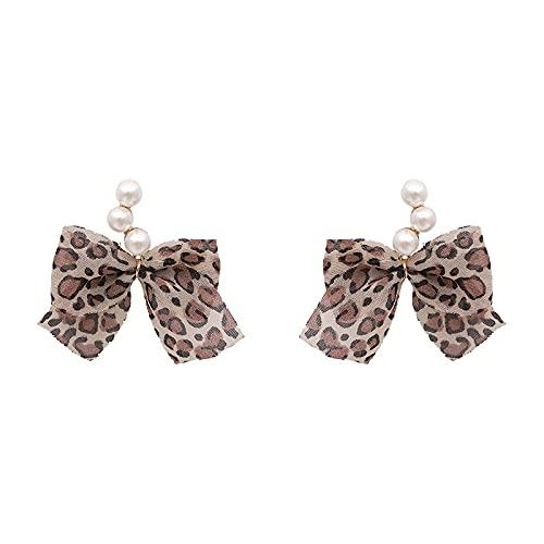Aguja de plata 925 pendientes de perlas de otoño e invierno pendientes de lazo de leopardo a juego diario pendientes de mujer