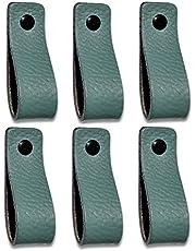 Brute Strength - Leren Handgrepen - Vaalgroen - 6 stuks - 16,5 x 2,5 cm - incl. 3 kleuren schroeven per leren handvat voor keukenkastjes - badkamer – kasten