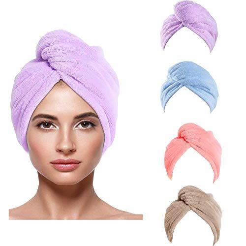 4 Stück Turban Handtuch mit Knopf Haarturban Handtuch Schnelltrocknend Mikrofaser Handtuch Turban Haartrockentuch (11x26Inch,Pink / Lila / Braun / Blau