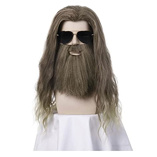 XIURAB Men's Wig, Long Curly Hair, Halloween Costume Party Hair Set, Suitable for Role Playing