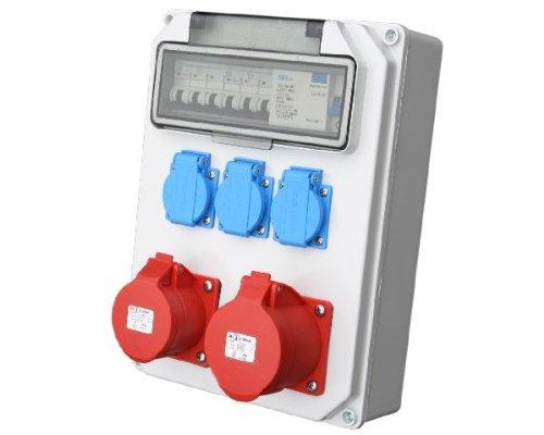 Wandverteiler CEE + 1x16A + 1x32A + 3x230V FI Baustromverteiler Steckdosenverteiler Komplett AWVT2