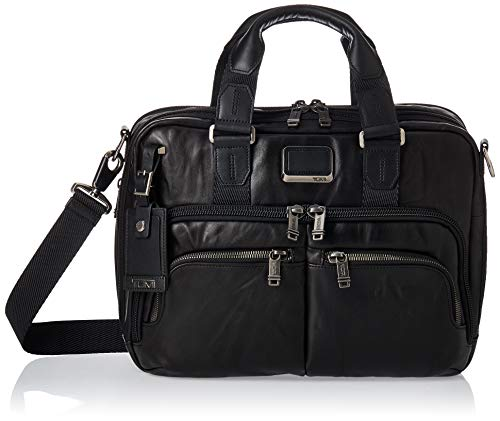 TUMI Men's Alpha Bravo Albany Slim Commuter Brief Briefcase, Black - Leather, 14 Inch Computer Bag Women