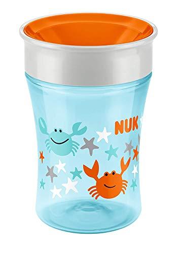 NUK Magic Cup Trinklernbecher, 360° Trinkrand, auslaufsicher abdichtende Silikonscheibe, 230ml, BPA-frei, Hellblau