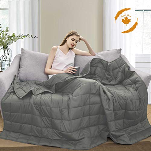 Maple Down Weighted Blanket for Adult & Kids 10 lbs Heavy Blanket, Twin Size, 7-Layer Cooling Weighted Blanket, 100% Cotton with Glass Beads, Body Weight Between 80lbs - 110lbs(Light Gray)