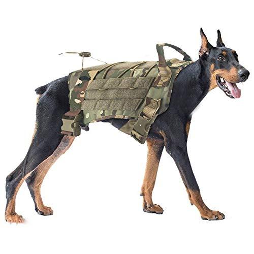 Rosepoem Tactical Service Hundegeschirr, Training Hundeweste Molle Ausbruchsicher Geschirr für kleine mittelgroße große Hunde Haustier Verstellbar mit Griff für Outdoor Walking Camouflage XL