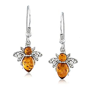 Sterling Silver Matching Amber Bumble Bee Necklace, Earrings, and Bracelet for Women