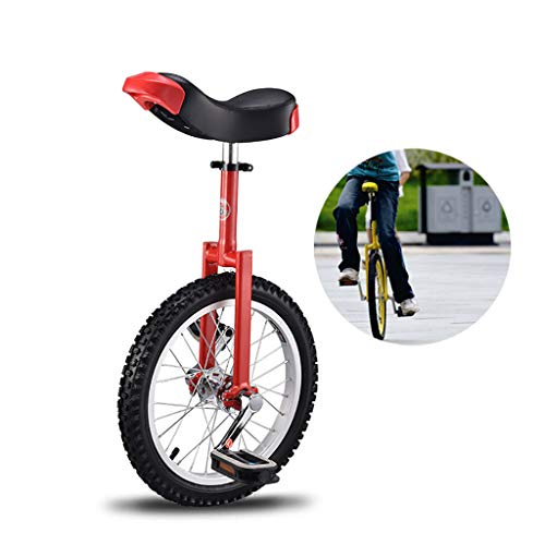 LIfav 20 Zoll Einrad, Bequemer Sattel Sitz Gummi Berg Reifen Für Die Balance-Trainings-Road Street-Fahrrad, Geeignet Für Menschen Von 1,6 Bis 1,75 Metern,Rot