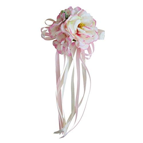 Sharplace 2 Piezas Cinta Ribbon Flores para Coche Adorno para Puertas Suministro de Fiesta - Rosa, 30 x 15 x 5 cm
