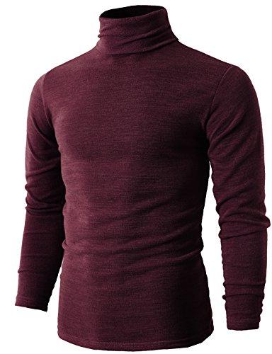H2H Mens Turtleneck Long Sleeve Sweater Wine US M/Asia XL (KMTTL028)