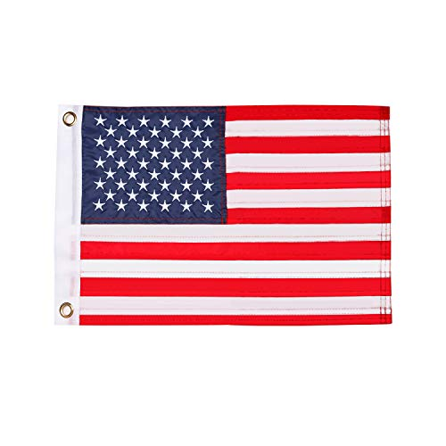 HOOSUN American Flag 12.5' x 18' Boat Flag Embroidered Stars USA Flag Boat Marine Bike Car Flag Banner with 2 Brass Grommet,USA Flag for Indoor and Outdoor