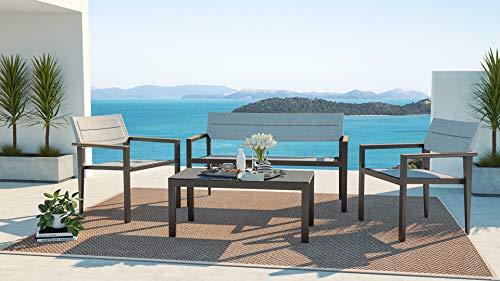 ARTELIA Orion Modern Teak Gartenmöbel Lounge Aluminium für 4 Personen - Alu Loungemöbel Set für Garten, Terrasse Gartenmöbelset Anthrazit