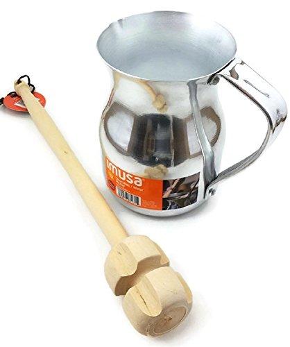 "Imusa Aluminum Hot Chocolate Pitcher (Chocolatera) 1Qt. Bundled with a Wooden Chocolate Mixer - Molinillo 14"""