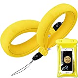 Waterproof Camera Float Strap - (2 Pack) with Waterproof Phone Case - Universal Floating Wristband/Strap Works with GoPro, Nikon, Canon, Sony,Pentax,Camcorders,Panasonic,Key and Phones - Bright Yellow