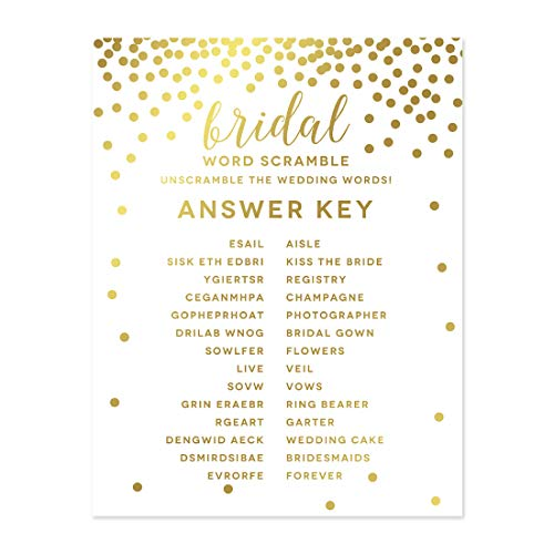 Andaz Press Metallic Gold Confetti Polka Dots Party Collection, Bridal Shower Wedding Word Scramble Game Cards, 20-Pack