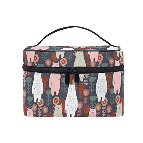HaJie - Bolsa de maquillaje de gran capacidad para llevar con diseo de oso y flores de animales