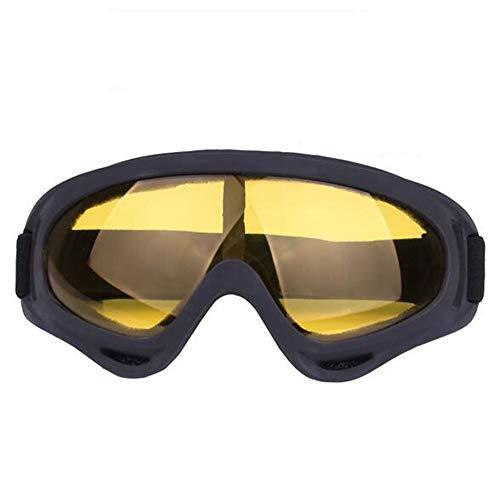 Dual Lens Skibrille, Anti-Fog UV-Schutz Snow Goggles für Männer Frauen Schneemobil, Skifahren, Schlittschuhlaufen,Gelb