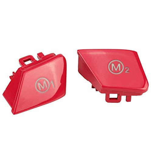 Auto Lenkrad Schalter Abdeckung, Fydun 1 Paar Lenkrad Tempomat Schalt knopf Kit M1 M2 Modus Schaltknopf Schalterabdeckung Innenverkleidungen Zubehör für M3 M-4 F80 F82 F83 (Rot)