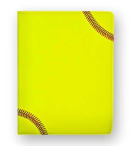 Zumer Sport Softball Leather Notepad Portfolio - Made with actual softball materials - Large pad agenda planner book - Ruled note paper - Pen Holder - Business Card Holder - Neon Yellow, Red Stitching