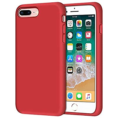 "Anuck iPhone 8 Plus Case, iPhone 7 Plus Case, Soft Silicone Gel Rubber Bumper Case Microfiber Lining Hard Shell Shockproof Full-Body Protective Case Cover for iPhone 7 Plus /8 Plus 5.5"" - Red"