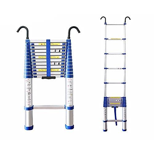 HDSF Aluminum Foldable Industrial Compact Loft Ladder,2M-8M Telescoping Ladder Aluminum Extension Ladder & Loft Roof Hook Kit Telescopic Ladder Foldable Capacity Max Load 150kg/330lb (Size : 6.6M)