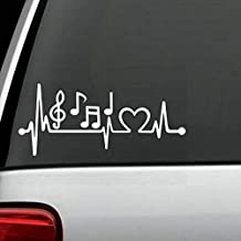 Yilooom K1096 Music Notes Heartbeat Decal Sticker Marching Band Guitar, Bass Treble Clef