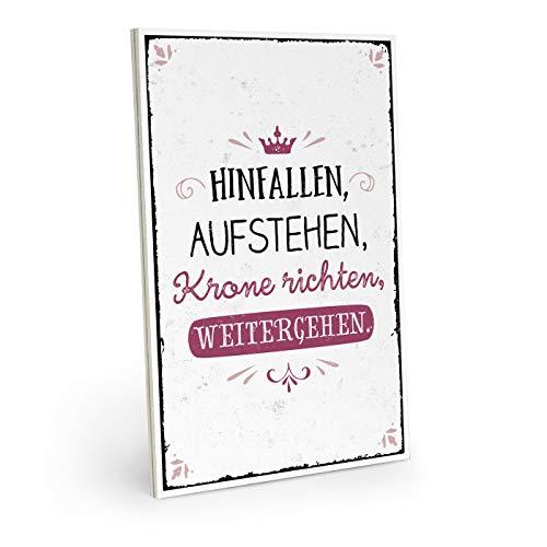 ARTFAVES Holzschild mit Spruch - Hinfallen, AUFSTEHEN, Krone RICHTEN - Vintage Shabby Deko-Wandbild/Türschild