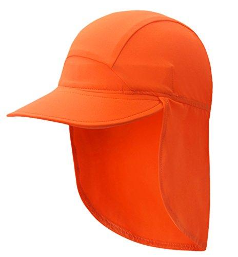 Happy Cherry Kinder Sonnenhut mit Nackenschutz Sommer Schirmmütze UV-Schutz Schlapphut Orange Kappe Unisex Kinder Mütze Kopfumfang 49cm