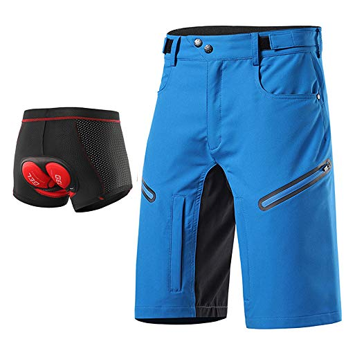 Loose Fit Cycling Shorts Men, MTB Mountain Bike Shorts Bicycle Underwear 3D Gel Padded, Waterproof Outdoor Sports Shorts Breathable Quick-Drying with Zipper Pockets,Blue,L