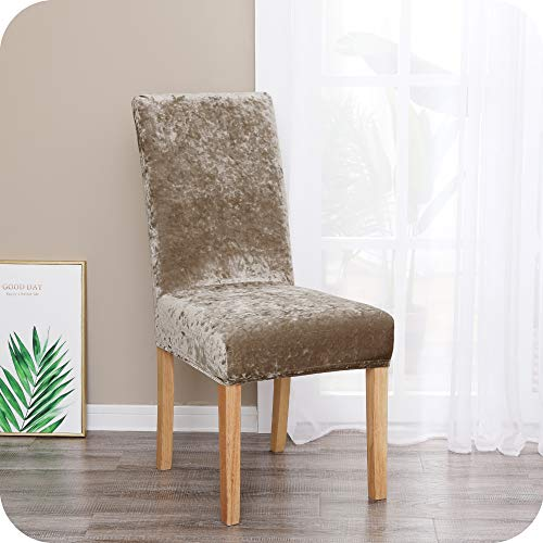 Amazon Brand – Umi Fundas para sillas de salón elásticas Suave Caqui(Juego de 2)