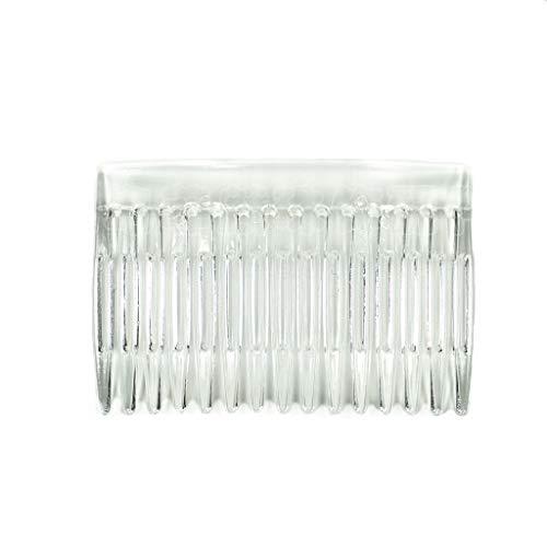 Haptian 7x5cm 15 Dents de Fantaisie Bricolage en Plastique Pince à Cheveux Peigne Femmes Titulaire du Voile de mariée Voile Transparent beauté Outil de coiffage(Clair)