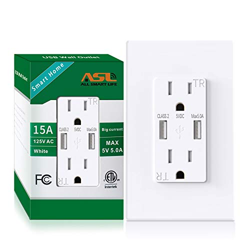 AllEasy USB Outlet 5.0A, Duplex 15Amp Tamper Resistant Receptacles with High Speed Dual USB Charging Port Compatible with iPhone, USB table lamps & Other USB Devices, Wall Plate Included, 1-Pack