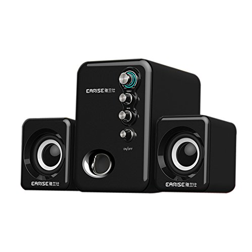EARISE Q8 USB Powered 2.1 Stereo Computer Speakers with Subwoofer Black