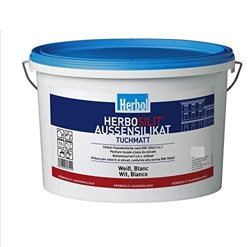 Herbol Herbolsilit Außensilikat, Silikat-Fassadenfarbe, Weiß, 5L