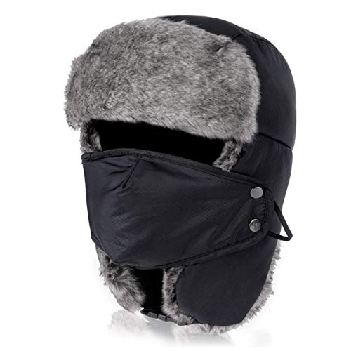 Iywish Kids Trapper Hats Toddlers Ushanka Earflap Winter Trooper Hat Bomber Cap Russian Hats Winter Windproof Snowboard Skiing Warm Hat Cap Boys Girls Cold Weather Hats Caps Hunting Hats Black, Large
