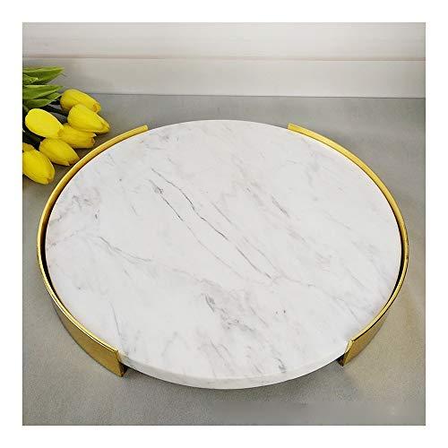 Asskanaer Marmor Rundes Tablett Serviertablett Gold-Edged Tray Dekorative Mittelstück for Restaurants Kaffeetisch Valet Tray Schlüssel Tray Schmuck Tray Wallet Tablett, Weiss