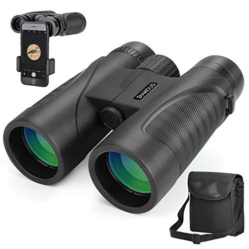 DIAHOUD Fernglas 12x42 HD Kompakte Ferngläser Wasserdicht für Vogelbeobachtung, Wandern, Jagd, Sightseeing, FMC-Linse Teleskop Inkl. Tragetasche, Tragegurt und Smartphone-Adapter