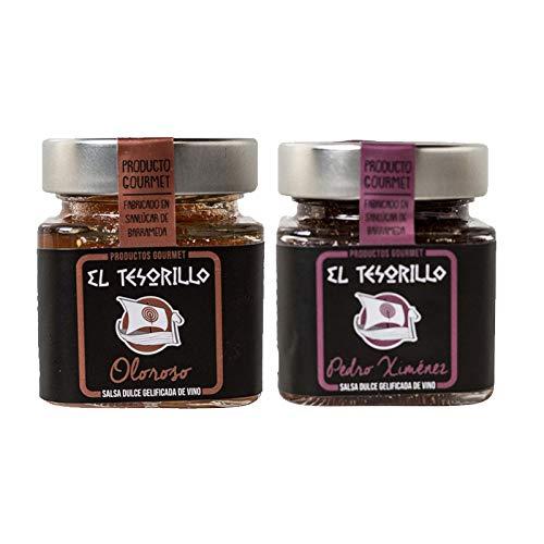 Pack de Mermeladas de Vino Oloroso y dulce Pedro Ximenez - 2 tarros de 150 g cada uno - Mezclanza El Tesorillo Gourmet