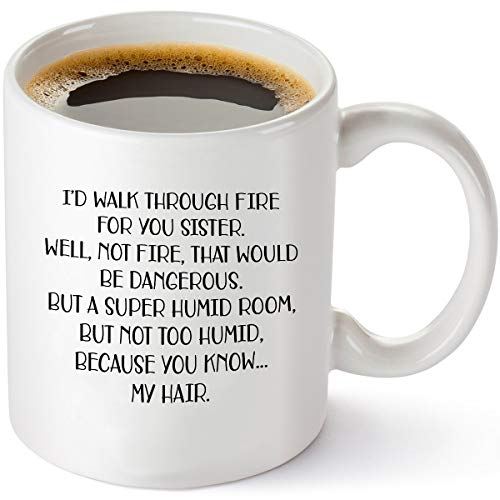 I'd Walk Through Fire For You – Funny Sister Gifts From Sister – Birthday Gift Ideas For Worlds Best Sister - 11 oz Coffee Mug Tea Cup White