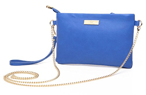 Aitbags Soft PU Leather Wristlet Clutch Crossbody Bag with Chain Strap Cell Phone Purse,Blue