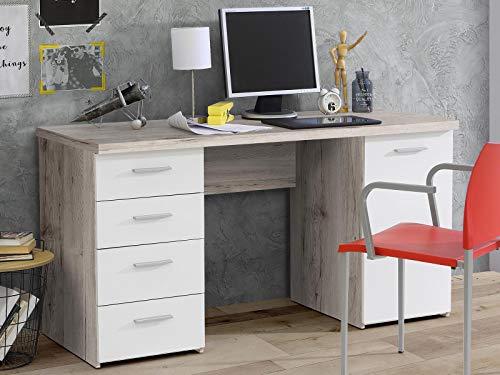 möbelando Schreibtisch Bürotisch Computertisch Arbeitstisch Laptoptisch Büromöbel Balu I Sandeiche/Weiß Matt