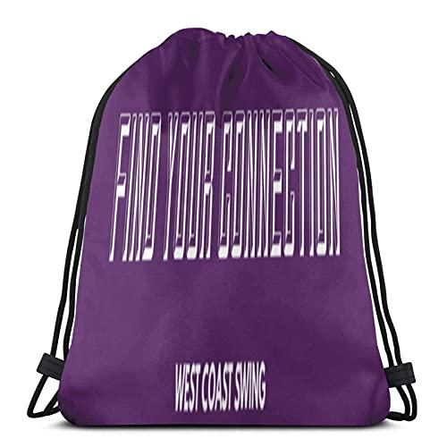 J-S bolsa de cordón Encuentra tu conexión West Coast Swing Wh gimnasio bolsa de escuela para mochila